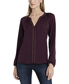 Women's Long Sleeve Stud Trim Blouse