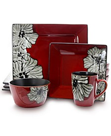 Winter Bloom 16 Piece Square Stoneware Dinnerware Set