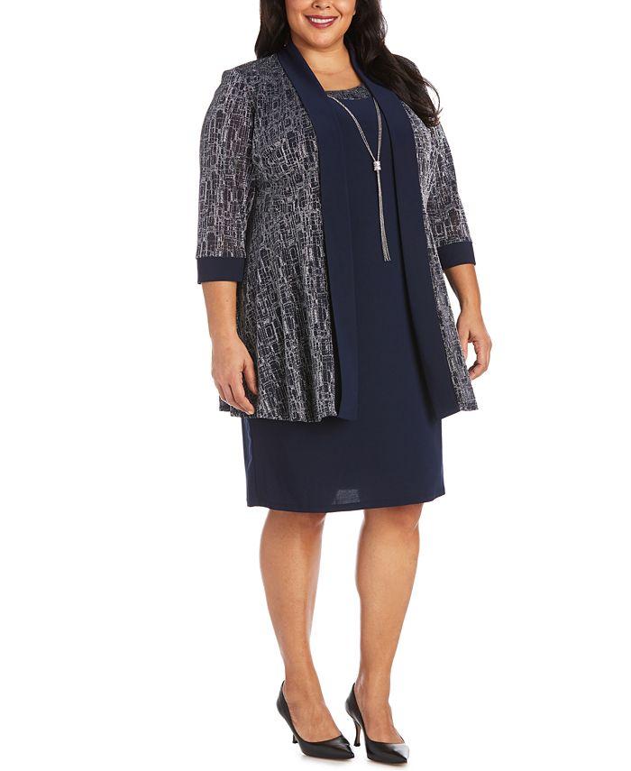R & M Richards - Plus Size Glitter Jacket & Dress