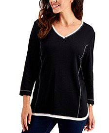 Cotton Contrast-Trim Top, Created for Macy's