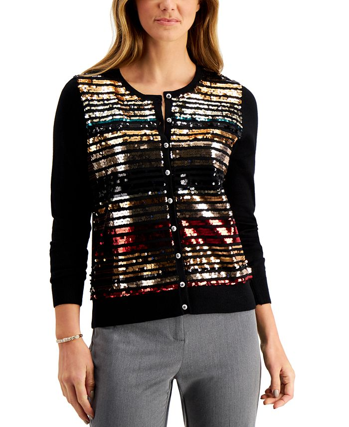 Charter Club - Sequin-Embellished Cardigan