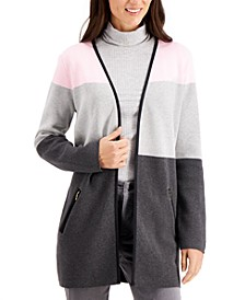 Cotton Colorblocked Open-Front Cardigan, Created for Macy's