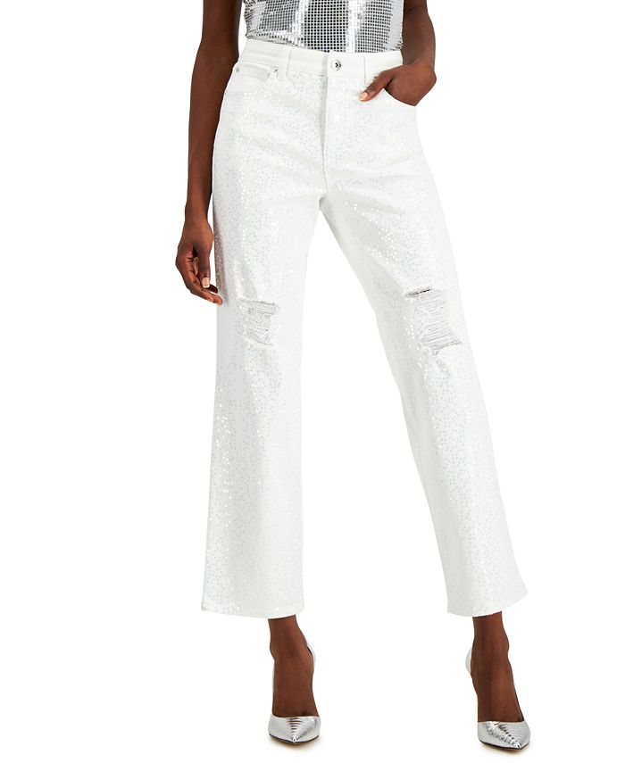 INC International Concepts - High-Rise Sequin Straight-Leg Jeans