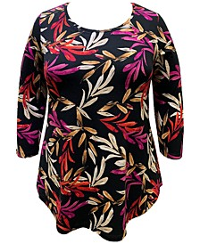 Plus Size Printed 3/4-Sleeve Foil Top, Created For Macy's