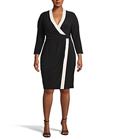 Plus Size Colorblocked Faux-Wrap Dress