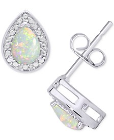 Simulated Opal & Cubic Zirconia Teardrop Stud Earrings in Sterling Silver