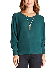 Juniors' Rib-Knit Sweater with Necklace