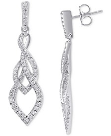 Diamond Overlap Drop Earrings (1 ct. t.w.) in 14k White Gold