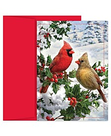 Pine Pearched Cardinal Holiday Boxed Cards, 16 Cards and 16 Envelopes