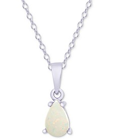 "Opal Teardrop 18"" Pendant Necklace (1/4 ct. t.w.) in Sterling Silver"