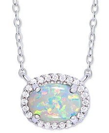 "Simulated Opal & Cubic Zirconia Halo 18"" Pendant Necklace in Sterling Silver"