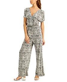 INC Petite Printed Smocked-Waist Jumpsuit, Created for Macy's