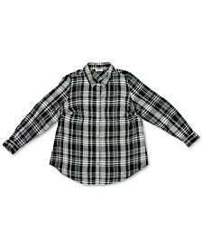 Petite Plaid Twill Collared Shirt, Created for Macy's