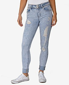 Juniors' Curvy Rolled-Cuff Acid-Wash Skinny Jeans