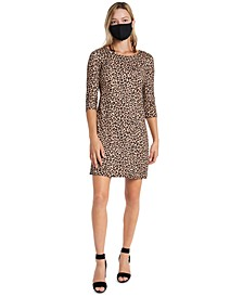 Animal-Print Shift Dress & Face Mask Necklace