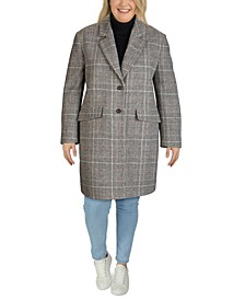 Plus Size Plaid Reefer Coat