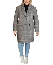 Jones New York Plus Size Plaid Reefer Coat