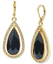 Gold-Tone Large Stone & Crystal Drop Earrings