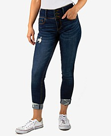 Juniors' Three-Button Cuffed Skinny Jeans