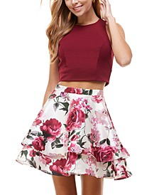 Juniors' 2-Pc. Top & Floral-Print Dress