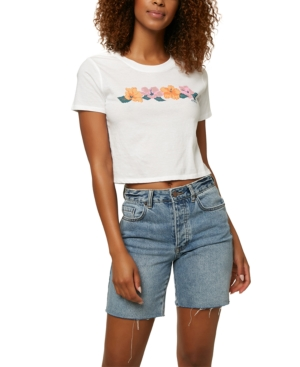 O'neill Juniors' Hibiscus Cotton Cropped T-shirt In White
