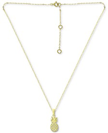 """Cubic Zirconia Pineapple Pendant Necklace in 18k Gold-Plated Sterling Silver, 16"""" + 2"""" extender, Created for Macy's"""