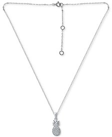 """Cubic Zirconia Pineapple Pendant Necklace in Sterling Silver, 16"""" + 2"""" extender, Created for Macy's"""