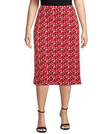 Kasper Plus Printed Midi Skirt