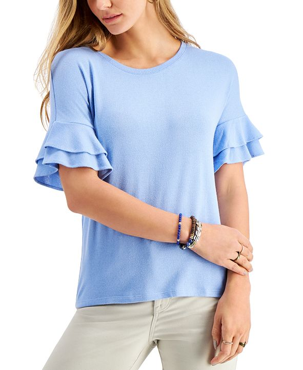 Style & Co Flutter-Sleeve Top, Created for Macy's