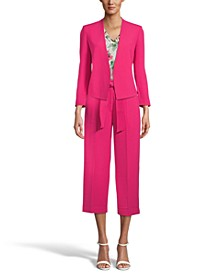 Open Front Blazer, V-Neck Top, & Tie-Front Pants, Created for Macy's