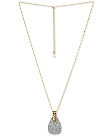"""Two-Tone Paddle 33"""" Adjustable Pendant Necklace"""