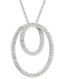 """Diamond Loop Circle 18"""" Pendant Necklace (1/4 ct. t.w.) in 14k White Gold"""