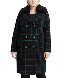 Plus Size Faux-Fur-Collar Plaid Coat, Created for Macy's