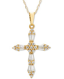 "Diamond Baguette Cross 18"" Pendant Necklace (1/4 ct. t.w.) in 14k Gold or 14k White Gold"