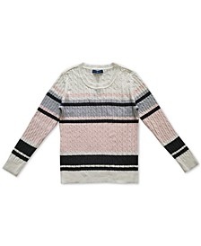 Petite Rose Cotton Cable-Knit Sweater, Created for Macy's