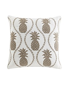 "Pineapple Resort Embroidered 20"" Decorative Pillow"