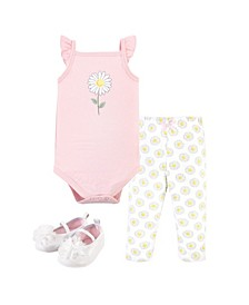 Boys and Girls Daisy Bodysuit, Pant and Shoe Set, Pack of 3