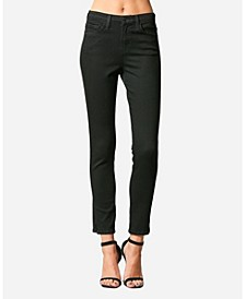 High Rise Cut Seam Waistband Skinny Ankle Jeans