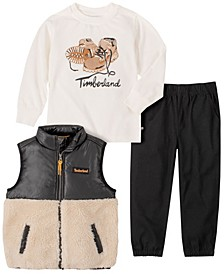 Toddler Boys Berber Vest with Tee and Twill Pant Set, 3 Piece