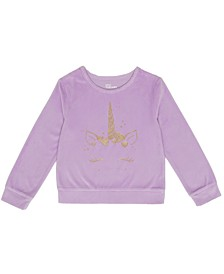 Toddler Girls Long Sleeve Unicorn Graphic Velour Mix and Match Top
