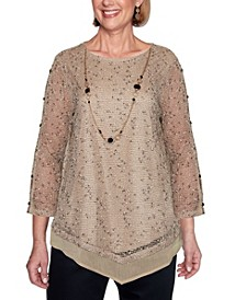 Women's Popcorn Mesh Misses Top