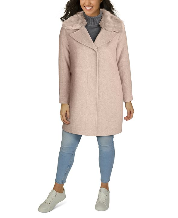 Kenneth Cole Plus Size Faux-Fur-Collar Walker Coat, Created for Macy's
