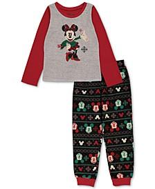 Matching Girls Holiday Mickey & Minnie Family Pajama Set