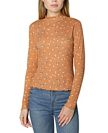 Juniors' Printed Pointelle-Knit Mock-Neck Top