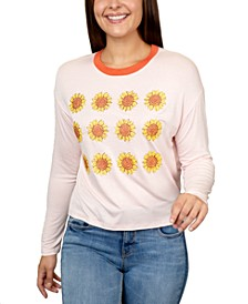 Juniors' Sunflowers Graphic Ringer T-Shirt