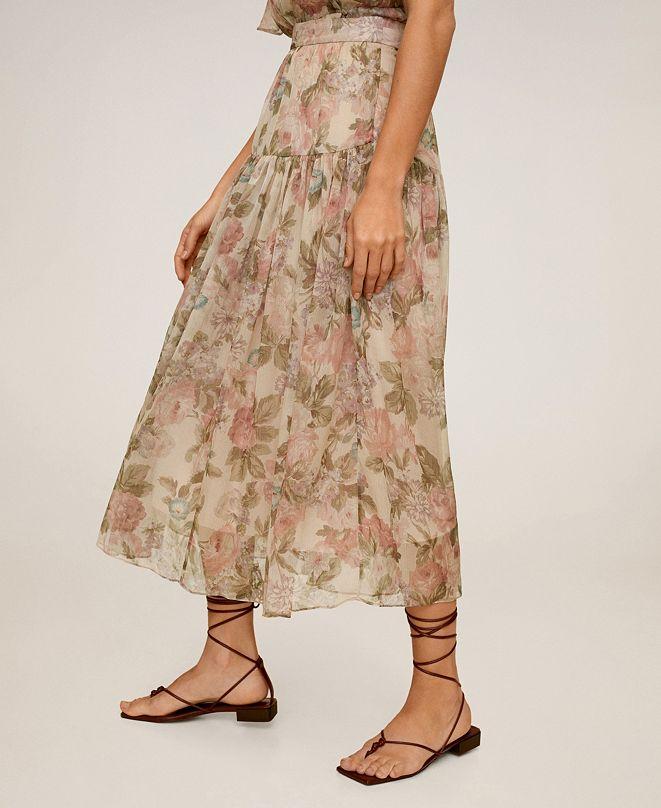MANGO Women's Floral Midi Skirt