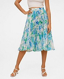 Women's Pleated Floral Skirt