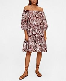 Women's Printed Off-Shoulder Dress