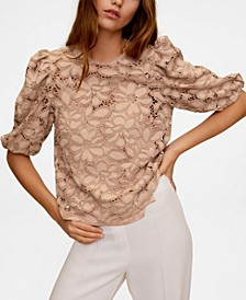 Women's Puffed Sleeves Lace Blouse