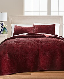 Medallion Tufted Velvet Twin/Twin XL Quilt, Created for Macy's